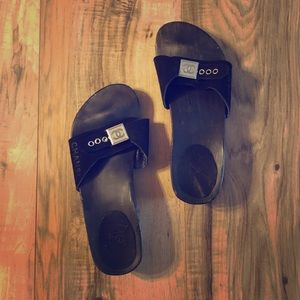 100% authentic wooden chanel slides clogs sandals